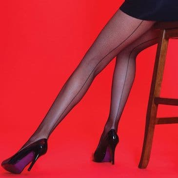 Silky Scarlet Fishnet Back Seam Tights